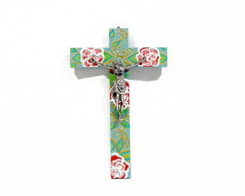 Jesus & Cross Turquoise with roses 27 cm