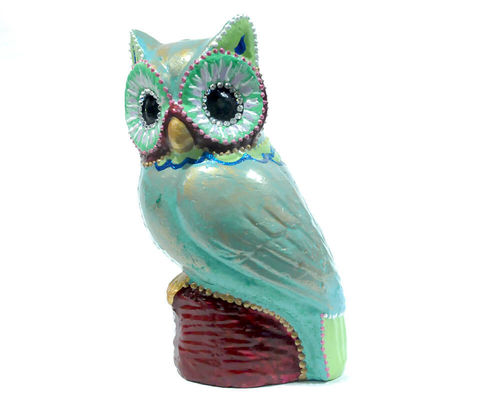 "Owl ""Wisdom & Joy"" Clay Basic ColourTurquoise"