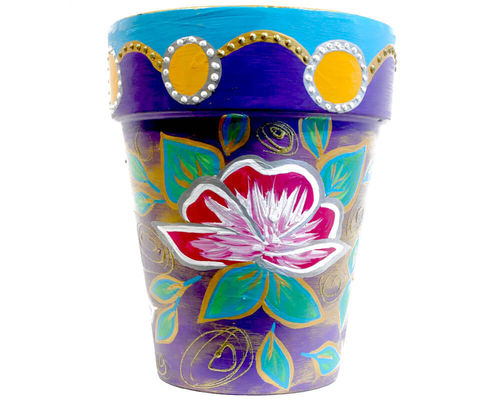 LovingColors XXL Flower pot - Roses on Purple